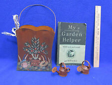 Garden Theme Handpainted Tin My Garden Helper Vintage Book & 2 Mini Watering Can