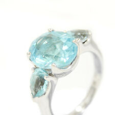 H. Stern 18K White Gold & Blue Topaz Ring With 2 Small Oval Cut 7.5 Grams Size 6