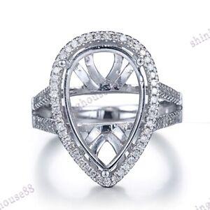 Fine Jewelry 14K White Gold Pear 16.7x11mm Halo Diamonds Wedding Ring Semi Mount