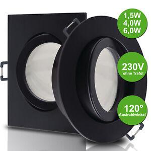 Decken Einbaustrahler LED Spot Leuchten Lampen GU10 1,5W 4W 6W 230V NERO Schwarz