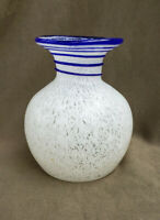 "Vintage MURANO Art Glass 5"" Flower Vase - White mottled with Blue Swirl"