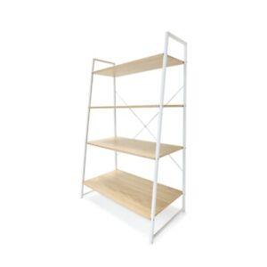 Scandinavian Ladder Bookshelf Scandi Design Book Shelf 4 Tier Bookcase Storage K