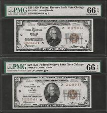(2)  CONSECUTIVE 1929  $20  FRBN  ♚♚ CHICAGO ♚♚ PMG GEM UNC 66 EPQ