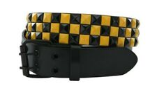 Unisex 3 Row Pyramid Studded Belt Yellow and Black Check - One Size - Brand New