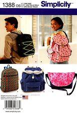 Simplicity Sewing Pattern 1388 Messenger Bag zipper drawstring  Backpacks