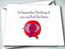 6 NOTE CARDS W/ ENVELOPES IN SYMPATHY DESIGN FOR RED HAT LADIES OF SOCIETY