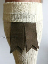 KILT HOSE SOCK FLASHES WEATHERED BROWN DOUBLE RIBBON WOOL HIGHLANDWEAR FOR KILTS