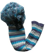 "POM POM Classic Fairway  5-Wood Headcover in Multi-colour/Blue stripes ""NEW"""
