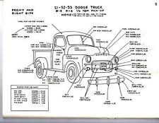 1948 1949 1950 DODGE TRUCK 1/2 3/4 1 TON EXTERIOR BODY PARTS DIAGRAM SHEETS WM