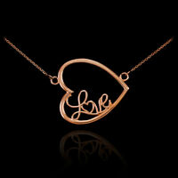 14K Rose Gold Sideways Heart Necklace with Love Script Valentine's Day Gift