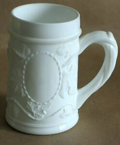 Vintage Paneled Panel Grape Heavy White Glass Mug  FREE SH