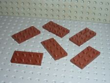 6 plaques plates 2x4 LEGO ref 3020 Redbrown Set 10210/6243/4754/4758/10182/4757.