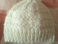 Hand knit new newborn/0-3 months baby boy girl  hat (cream) *baby shower gift*