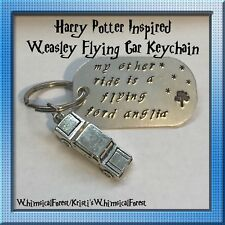 Handmade Harry Potter Inspired Weasley Flying Car Keychain Stamped Geeky