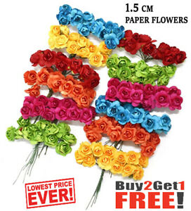 144 PCS MULBERRY PAPER ROSES/FLOWERS 11 colors and 1.5cm flowers Wedding party