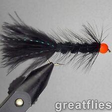 1 dozen (12) - Woolly Bugger - BLACK - Orange Bead Head