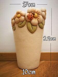 Vaso THUN con fiori+coccinella h 29 cm - originale - leggera screpolatura