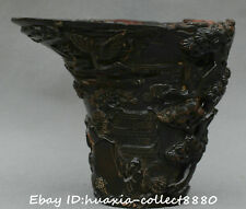 Collect Chinese old ox horn carve Pine Tree Old Man scenery Cup oxhorn Cups Bowl