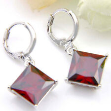 Mother's Day Jewelry Gift Square Natural Fire Red Garnet Silver Dangle Earrings