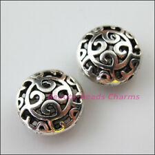 3Pcs Tibetan Silver Round Flower Clouds Flat Spacer Beads Charms 16.5mm