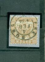 Baden, Wappen im Quadrat, Nr. 20 b a gestempelt auf Briefstück