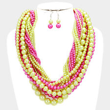 Whimsical Statement Gold Pink Green Twisted Pearl Necklace Set By Rocks Boutique
