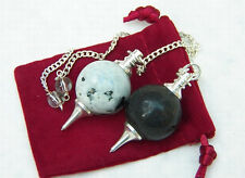 1 MOONSTONE,1 BLACK TOURMALINE BALL POINT SILVER DOWSING  PENDULUM, WITH POUCH
