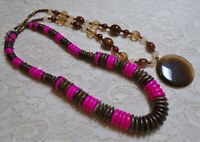 VINTAGE TO NOW PINK & BROWN GLASS WOOD & LUCITE BEADED BOHO NECKLACE LOT