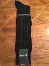 NWT,  Medium Pantherella Over The Calf Merino Wool Black Pinstripe Socks 69588