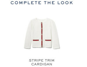 NWT $114 Janie & Jack Ensemble Set Stripe Trim Cardigan, Boucle Purse & Headband