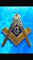 Master Masonic Masonic Blue Lodge Chain Collar Jewel Golden with Dark Blue