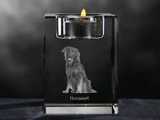 Hovawart, crystal candlestick with dog, souvenir, Crystal Animals Ca
