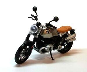BMW R NineT Scrambler in Silver  - 1:12 Die-Cast Motorbike Model by Maisto - New