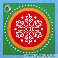 BonEful Fabric Cotton Quilt Square Block Dr Seuss Grinch Xmas Blue Dot Snowflake