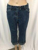 Geoffrey Beene Womens Capri Jeans Size 2 Sport Stretch Cuff Denim Medium Wash