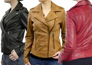 RICANO Damen Lederjacke Sicilia Perfecto verschiedene Farben aus Lammnappa