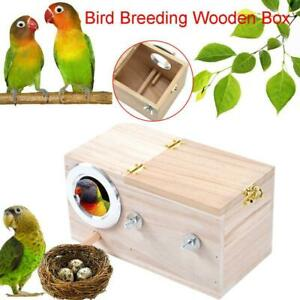 Wooden Small Bird Parrot Breeding Nest Box Nesting Budgie House Cage Home Comfy