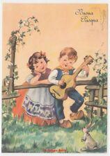 1956 bambini chitarra musica canzone coniglio cartolina fg auguri Pasqua vintage