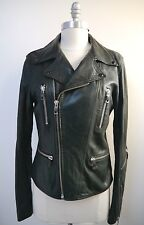 DIESEL black BUTTER SOFT leather zipper detail motorcycle biker jacket women's M