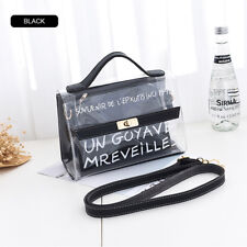 Womens Transparent PVC Clear Alphabet Jelly Bag Tote Casual Handbag Messenger