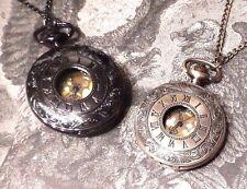STEAMPUNK Brass or Gunmetal black/silver POCKET WATCH NECKLACE Damask scroll G2