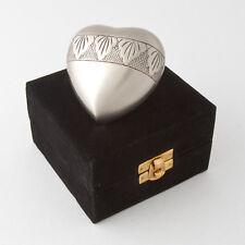 Cremation Keepsake Heart  Urn & Velvet box beautifully handcrafted. Free Stand