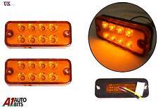 2 12V 8 LED FRONT SIDE REAR ORANGE MARKER INDICATOR LIGHTS LAMPS CAMPER CARAVAN