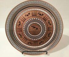 VTG Grecian Reproduction Enamel Copper Plate Tray Serving  Gazelles Etruscan