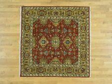 6'x6' Hand-Knotted Karajeh 100 Percent Wool Square Fine Oriental Carpet R31508
