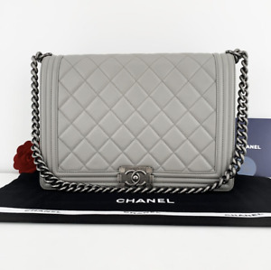 CHANEL Quilted Lambskin Boy Bag Large in Gray with Ruthenium HW