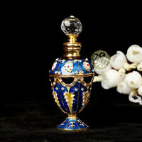 Vintage Blue Empty Crystal Metal Perfume Bottle Glass Flower Wedding Gifts 5ml
