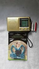 Mini Portable Radio 9 Band FM/AM/SW World Receiver -+ Batteries + Earbuds-Gold
