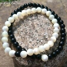 Couples Handmade Mother Of Pearl Black Onyx His And Hers Yin Yang Bracelets