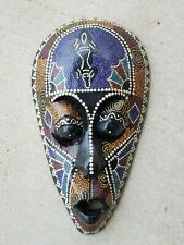 Handpainted Carved Decorative Wooden Mask African Tribal Style Aboriginal 12""